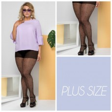 Size+ pantyhose - Lycra - Black dots