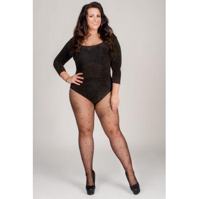 Size++ pantyhose - Lycra - Black dots